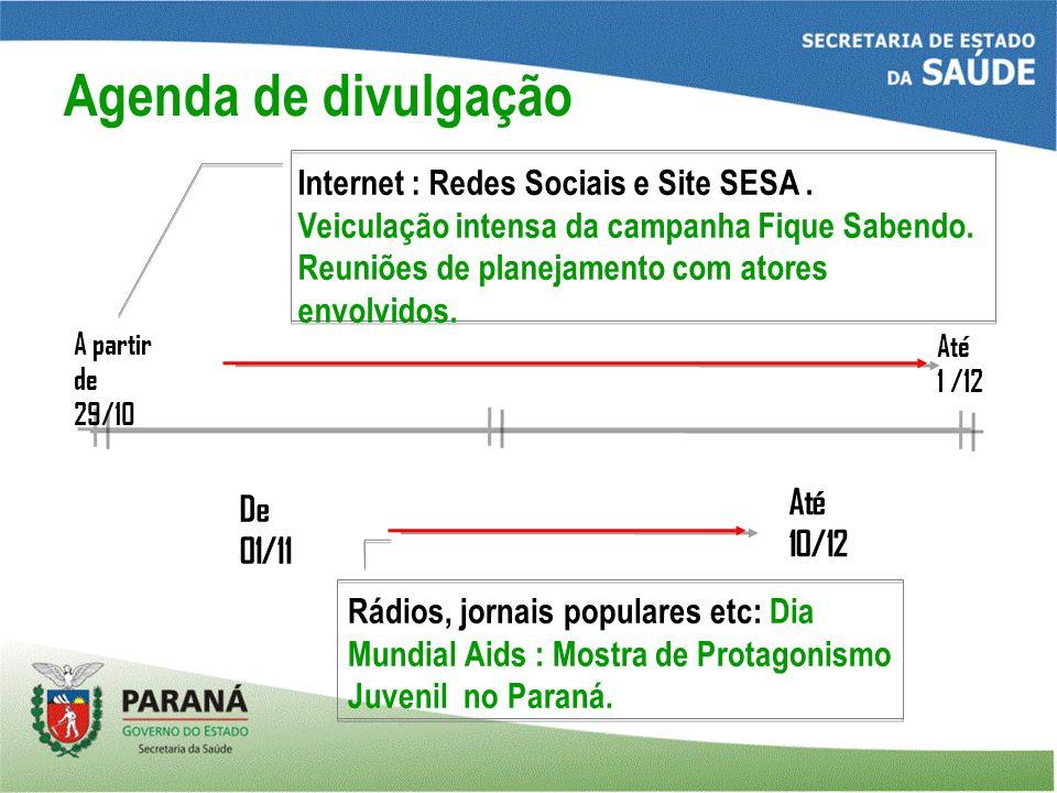 A partir de 29/10 Até 1 /12 De 01/11 Até 10/12 Internet : Redes Sociais e Site SESA.