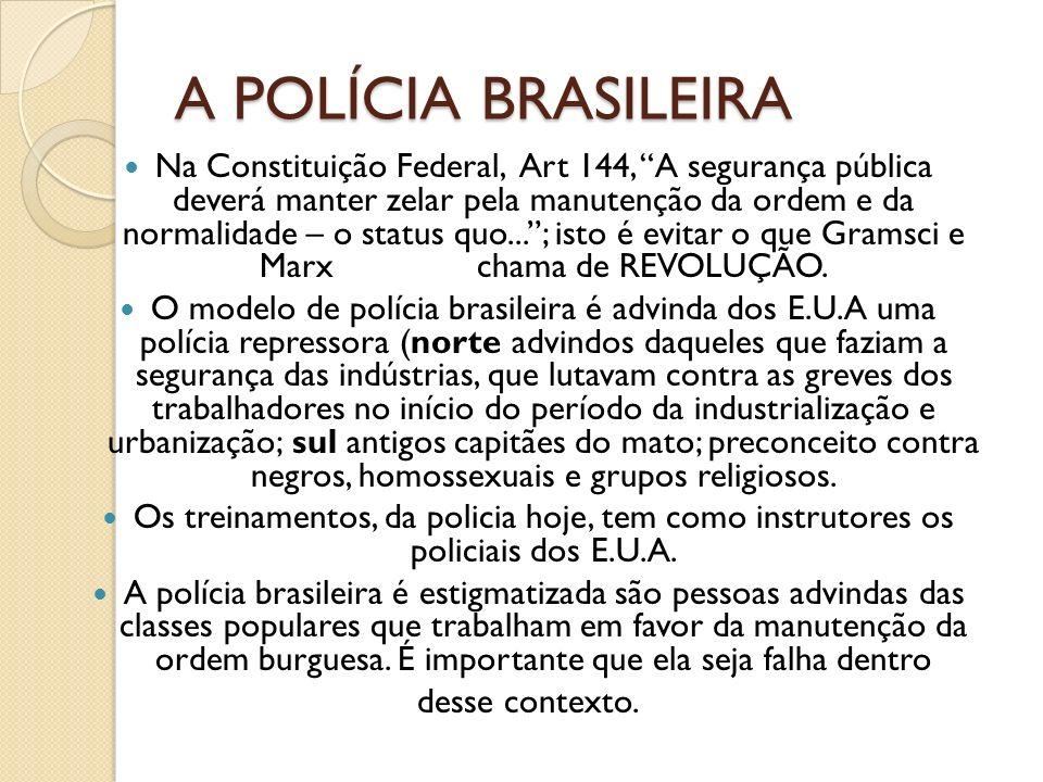 A POLÍCIA BRASILEIRA Na Constituição Federal, Art 144, A segurança pública deverá manter zelar pela manutenção da ordem e da normalidade – o status qu