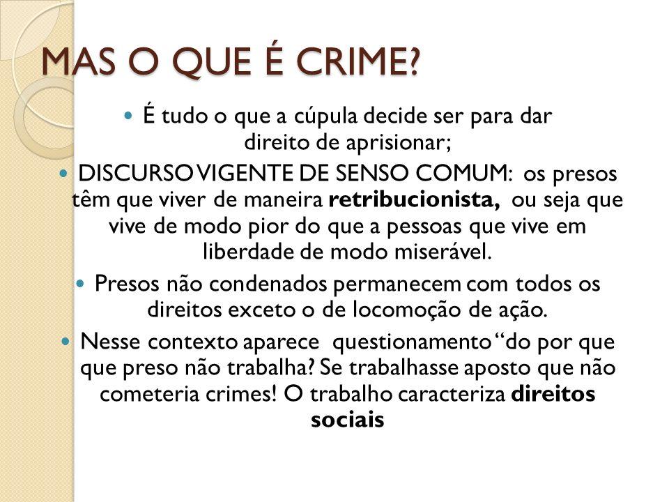 MAS O QUE É CRIME? É tudo o que a cúpula decide ser para dar direito de aprisionar; DISCURSO VIGENTE DE SENSO COMUM: os presos têm que viver de maneir