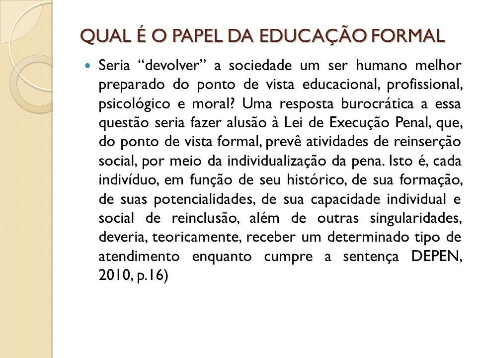 QUAL É O PAPEL DA EDUCAÇÃO FORMAL Seria devolver a sociedade um ser humano melhor preparado do ponto de vista educacional, profissional, psicológico e