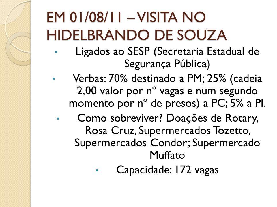 EM 01/08/11 – VISITA NO HIDELBRANDO DE SOUZA Ligados ao SESP (Secretaria Estadual de Segurança Pública) Verbas: 70% destinado a PM; 25% (cadeia 2,00 v