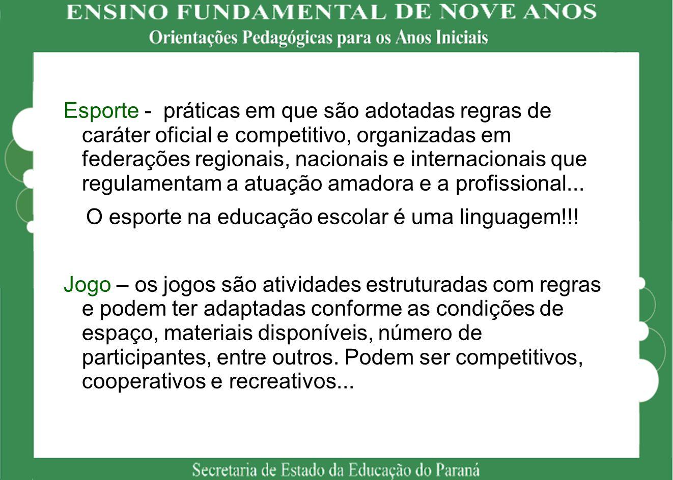 Esporte - práticas em que são adotadas regras de caráter oficial e competitivo, organizadas em federações regionais, nacionais e internacionais que re