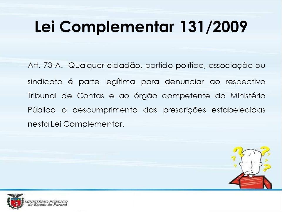Art. 73-A. Qualquer cidadão, partido político, associação ou sindicato é parte legítima para denunciar ao respectivo Tribunal de Contas e ao órgão com