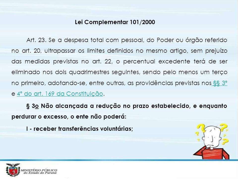 Lei Complementar 101/2000 Art. 23. Se a despesa total com pessoal, do Poder ou órgão referido no art. 20, ultrapassar os limites definidos no mesmo ar