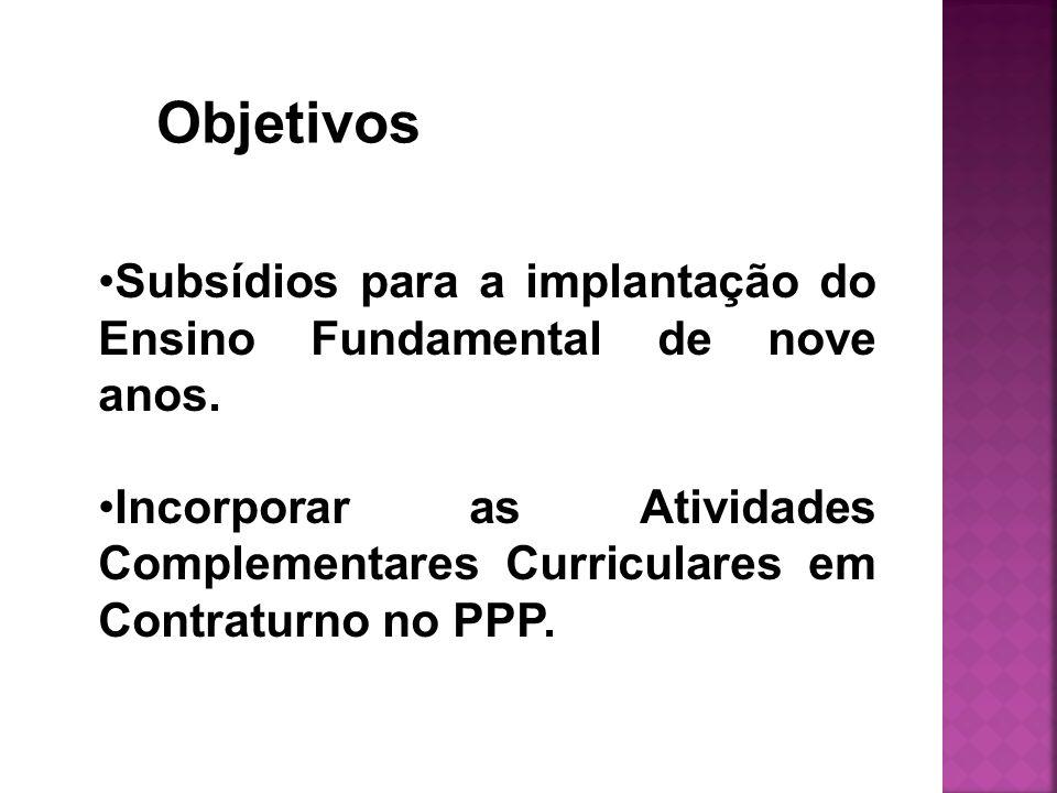 Subsídios para a implantação do Ensino Fundamental de nove anos. Incorporar as Atividades Complementares Curriculares em Contraturno no PPP. Objetivos