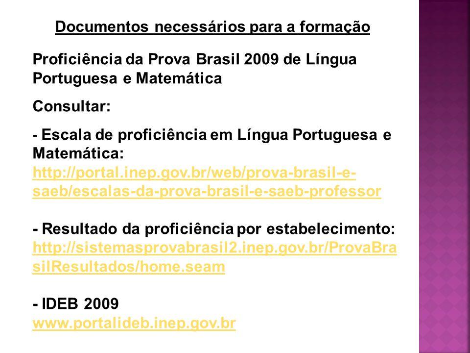 Proficiência da Prova Brasil 2009 de Língua Portuguesa e Matemática Consultar: - Escala de proficiência em Língua Portuguesa e Matemática: http://port