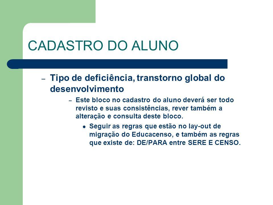 CADASTRO DO ALUNO – Tipo de deficiência, transtorno global do desenvolvimento – Este bloco no cadastro do aluno deverá ser todo revisto e suas consist