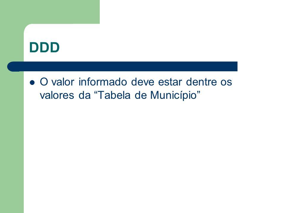 DDD O valor informado deve estar dentre os valores da Tabela de Município