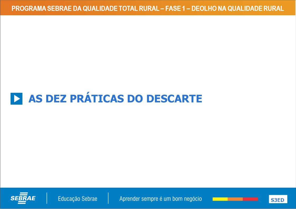 PROGRAMA SEBRAE DA QUALIDADE TOTAL RURAL – FASE 1 – DEOLHO NA QUALIDADE RURAL AS DEZ PRÁTICAS DO DESCARTE S3ED