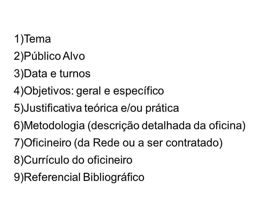1)Tema 2)Público Alvo 3)Data e turnos 4)Objetivos: geral e específico 5)Justificativa teórica e/ou prática 6)Metodologia (descrição detalhada da ofici
