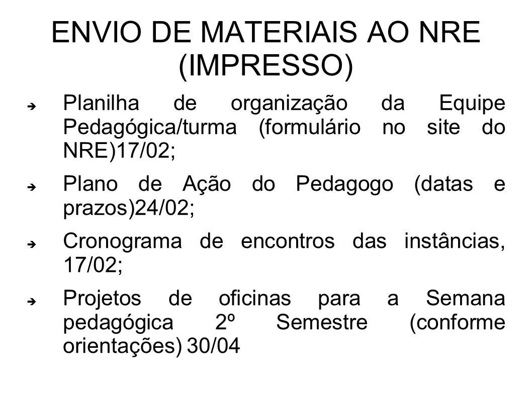 ENVIO DE MATERIAIS AO NRE (IMPRESSO) Planilha de organização da Equipe Pedagógica/turma (formulário no site do NRE)17/02; Plano de Ação do Pedagogo (d