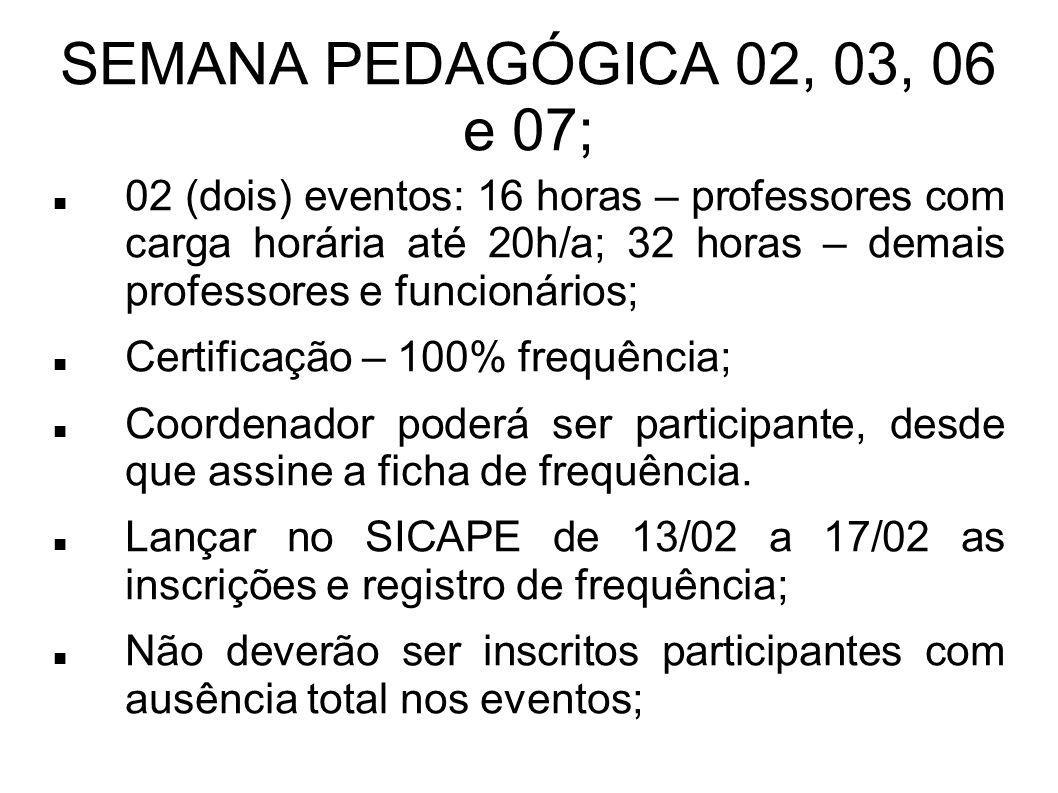 SEMANA PEDAGÓGICA 02, 03, 06 e 07; 02 (dois) eventos: 16 horas – professores com carga horária até 20h/a; 32 horas – demais professores e funcionários