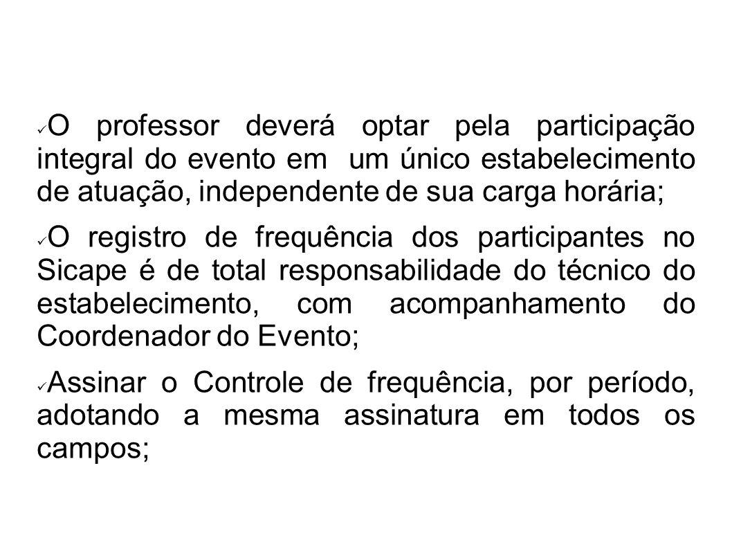 O professor deverá optar pela participação integral do evento em um único estabelecimento de atuação, independente de sua carga horária; O registro de