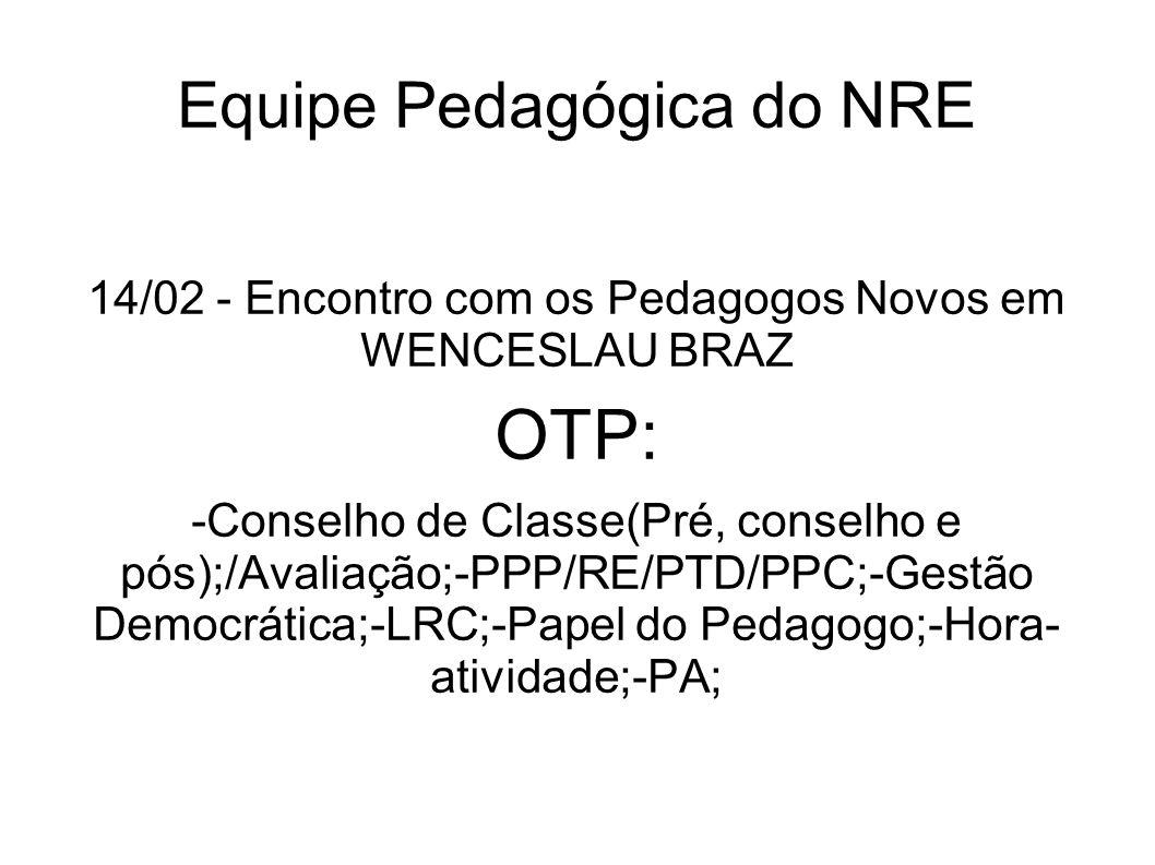 Equipe Pedagógica do NRE 14/02 - Encontro com os Pedagogos Novos em WENCESLAU BRAZ OTP: -Conselho de Classe(Pré, conselho e pós);/Avaliação;-PPP/RE/PT