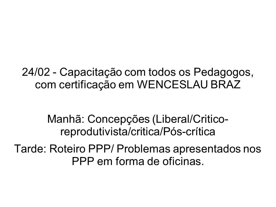 24/02 - Capacitação com todos os Pedagogos, com certificação em WENCESLAU BRAZ Manhã: Concepções (Liberal/Critico- reprodutivista/critica/Pós-crítica