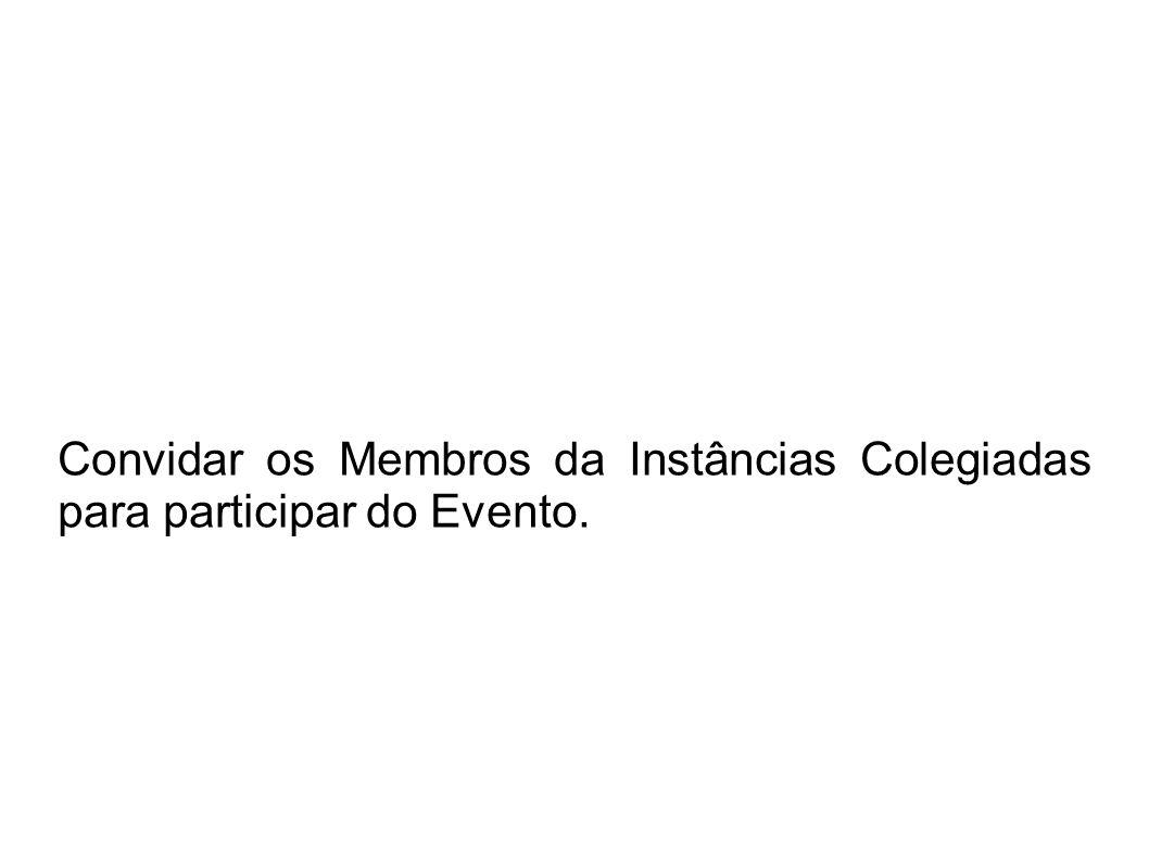 Convidar os Membros da Instâncias Colegiadas para participar do Evento.