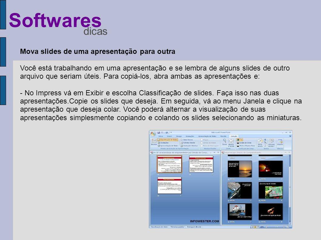 Mova slides de uma apresentação para outra Você está trabalhando em uma apresentação e se lembra de alguns slides de outro arquivo que seriam úteis. P