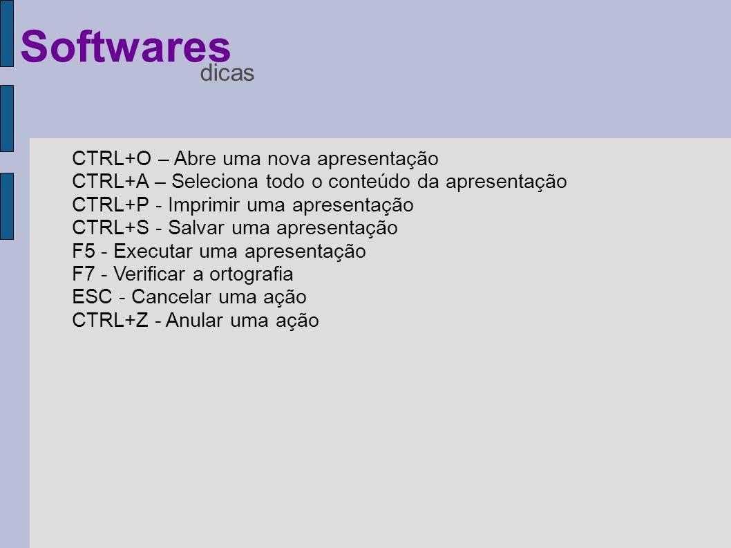 CTRL+O – Abre uma nova apresentação CTRL+A – Seleciona todo o conteúdo da apresentação CTRL+P - Imprimir uma apresentação CTRL+S - Salvar uma apresent