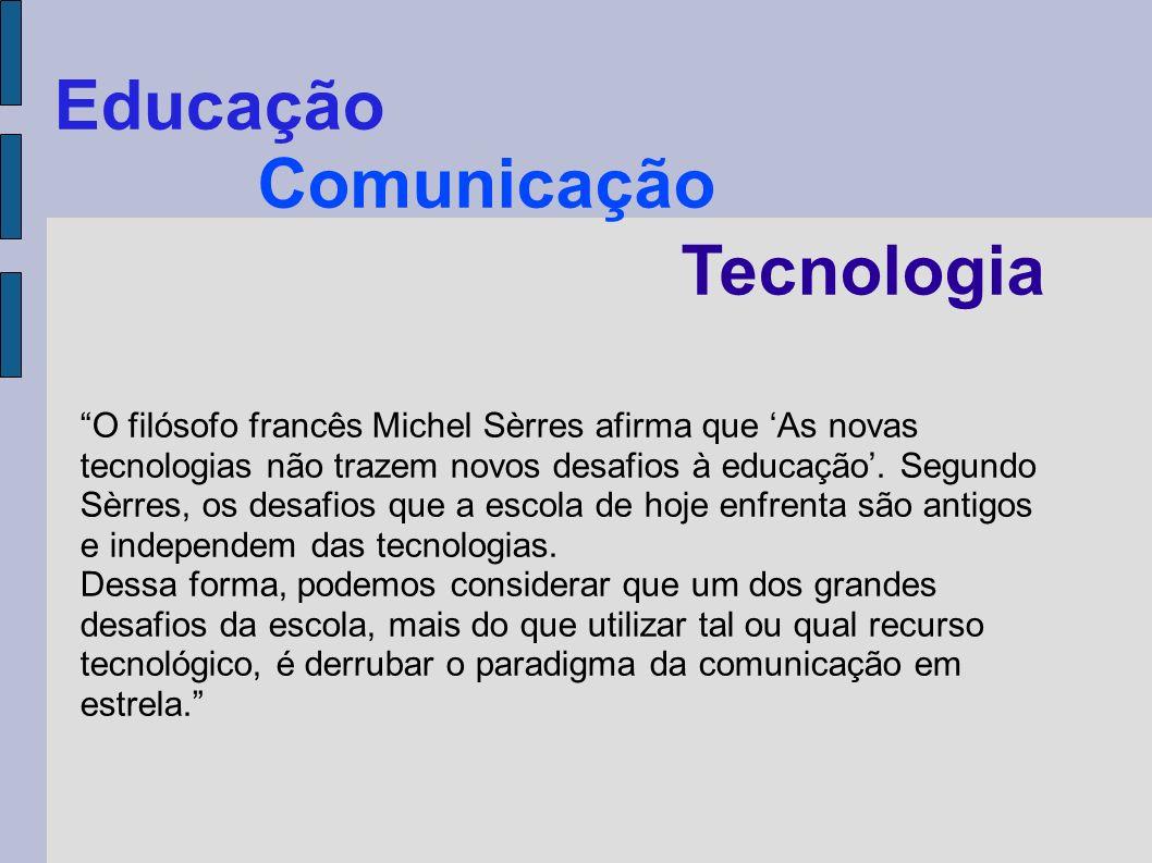 Comunicação Tecnologia Educação O filósofo francês Michel Sèrres afirma que As novas tecnologias não trazem novos desafios à educação. Segundo Sèrres,