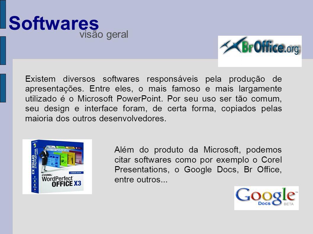 Existem diversos softwares responsáveis pela produção de apresentações. Entre eles, o mais famoso e mais largamente utilizado é o Microsoft PowerPoint