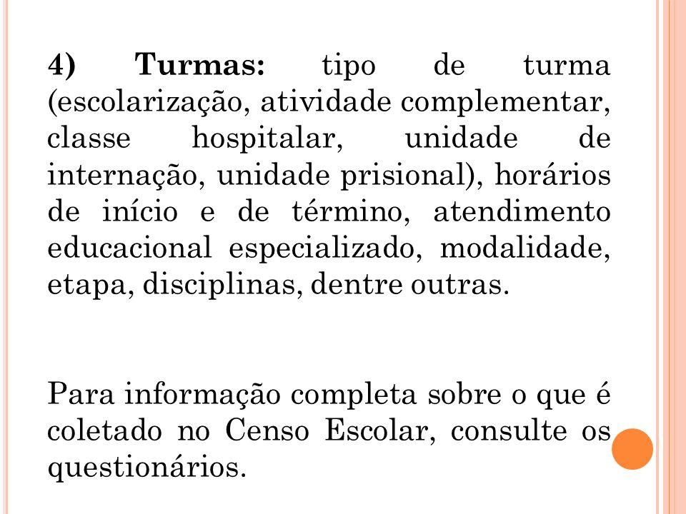4) Turmas: tipo de turma (escolarização, atividade complementar, classe hospitalar, unidade de internação, unidade prisional), horários de início e de