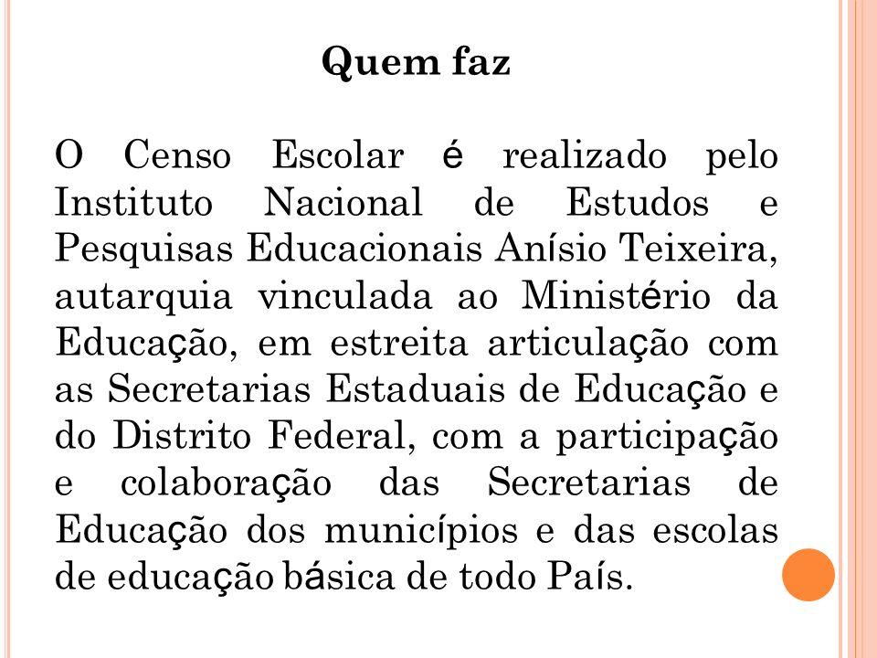 Quem faz O Censo Escolar é realizado pelo Instituto Nacional de Estudos e Pesquisas Educacionais An í sio Teixeira, autarquia vinculada ao Minist é ri