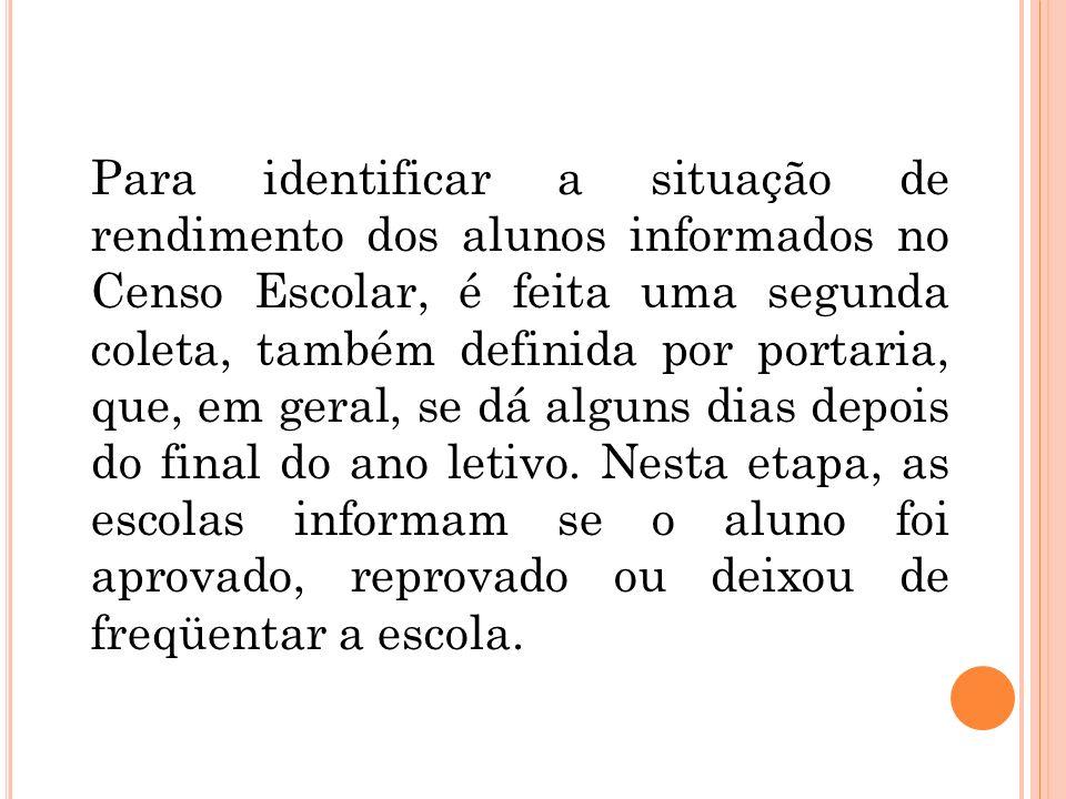 Para identificar a situação de rendimento dos alunos informados no Censo Escolar, é feita uma segunda coleta, também definida por portaria, que, em ge