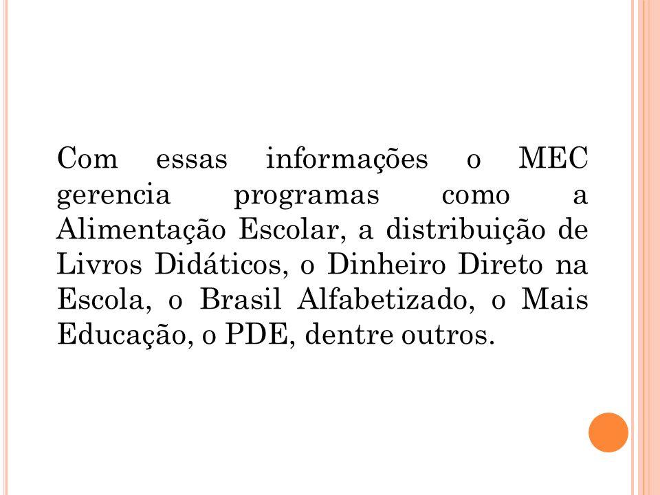 Com essas informações o MEC gerencia programas como a Alimentação Escolar, a distribuição de Livros Didáticos, o Dinheiro Direto na Escola, o Brasil A