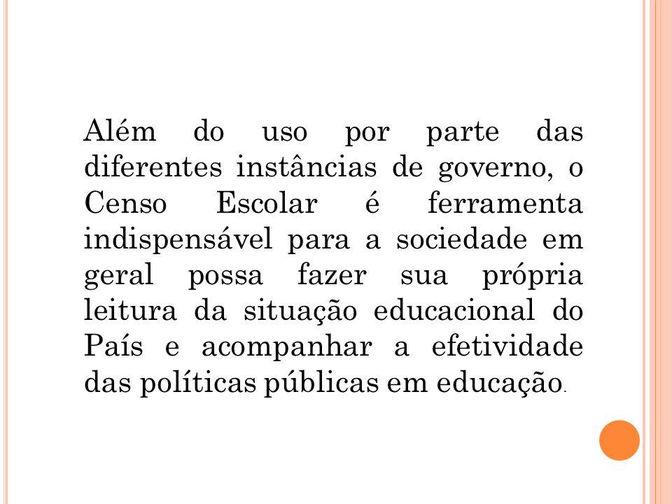 Além do uso por parte das diferentes instâncias de governo, o Censo Escolar é ferramenta indispensável para a sociedade em geral possa fazer sua própr