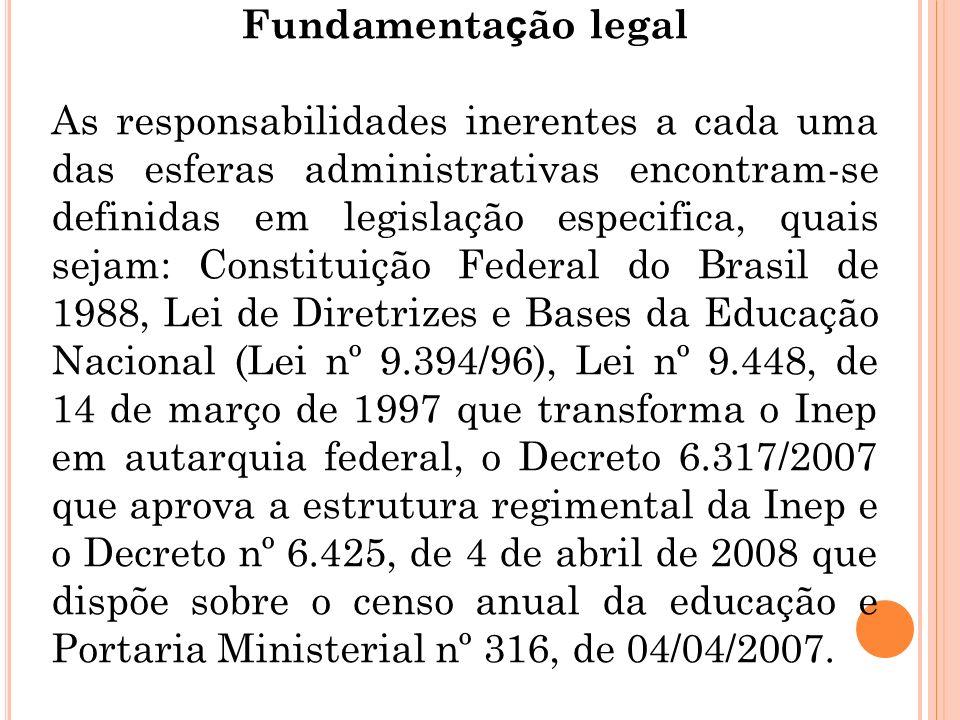 Fundamenta ç ão legal As responsabilidades inerentes a cada uma das esferas administrativas encontram-se definidas em legislação especifica, quais sej