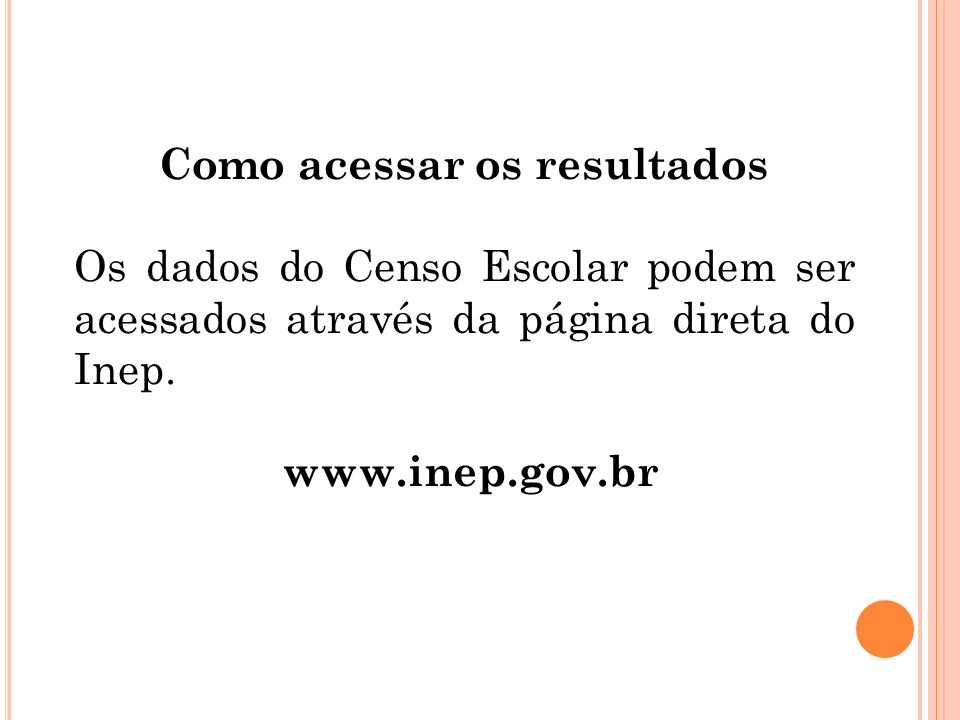 Como acessar os resultados Os dados do Censo Escolar podem ser acessados através da página direta do Inep. www.inep.gov.br