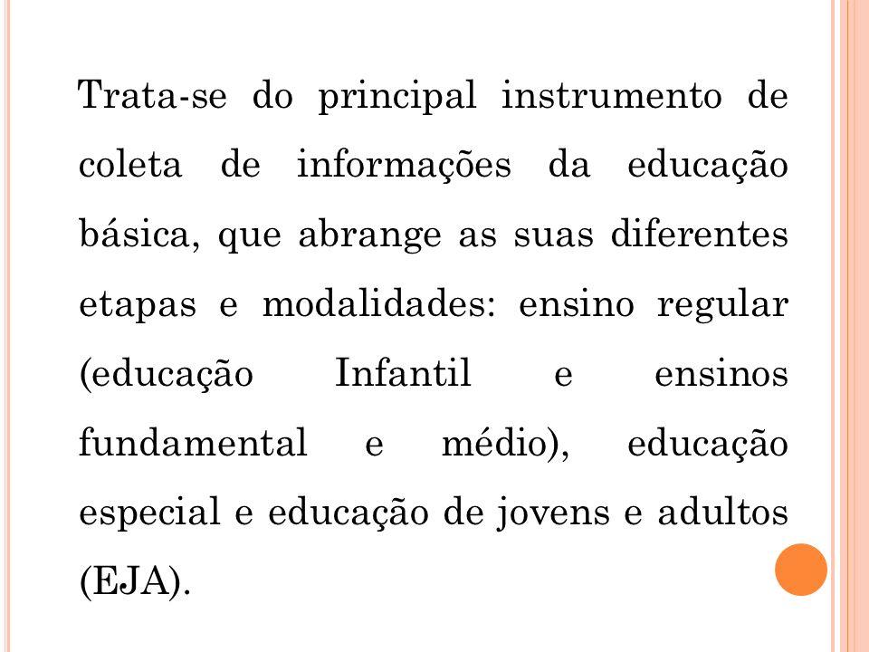 Trata-se do principal instrumento de coleta de informações da educação básica, que abrange as suas diferentes etapas e modalidades: ensino regular (ed