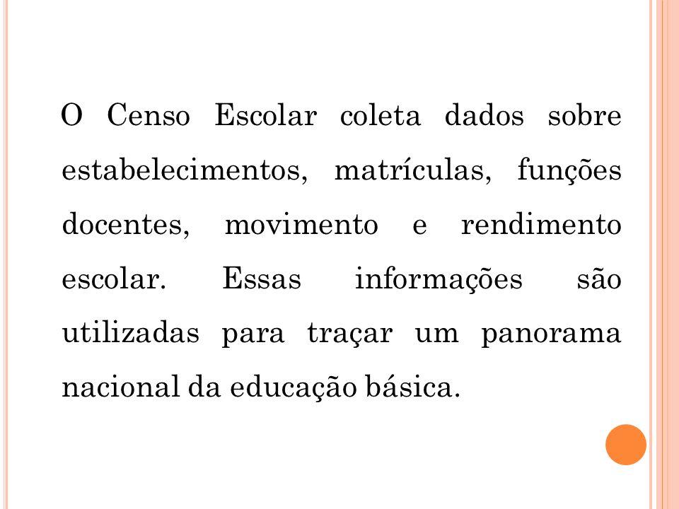O Censo Escolar coleta dados sobre estabelecimentos, matrículas, funções docentes, movimento e rendimento escolar. Essas informações são utilizadas pa