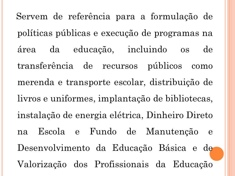 Servem de referência para a formulação de políticas públicas e execução de programas na área da educação, incluindo os de transferência de recursos pú