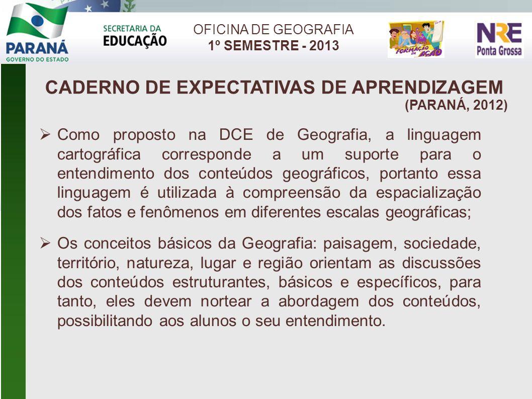 CADERNO DE EXPECTATIVAS DE APRENDIZAGEM (PARANÁ, 2012) OFICINA DE GEOGRAFIA 1º SEMESTRE - 2013 Como proposto na DCE de Geografia, a linguagem cartográ