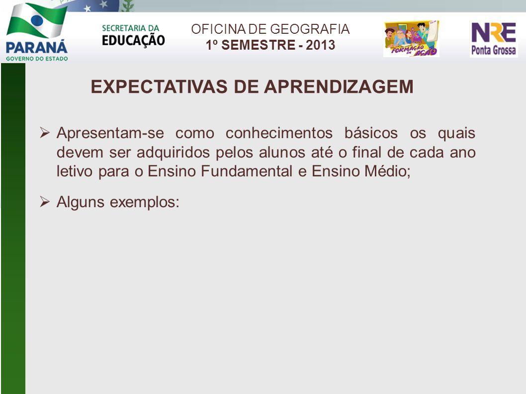 EXPECTATIVAS DE APRENDIZAGEM OFICINA DE GEOGRAFIA 1º SEMESTRE - 2013 Apresentam-se como conhecimentos básicos os quais devem ser adquiridos pelos alun