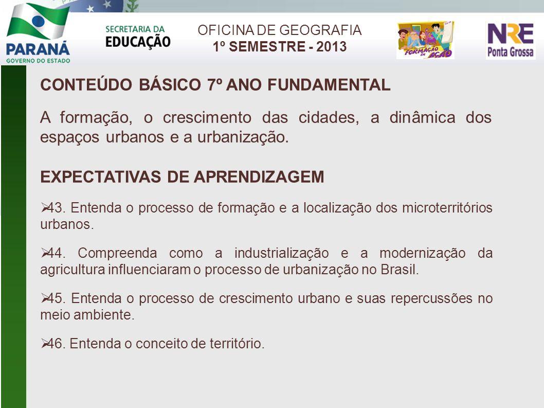 OFICINA DE GEOGRAFIA 1º SEMESTRE - 2013 CONTEÚDO BÁSICO 7º ANO FUNDAMENTAL A formação, o crescimento das cidades, a dinâmica dos espaços urbanos e a u