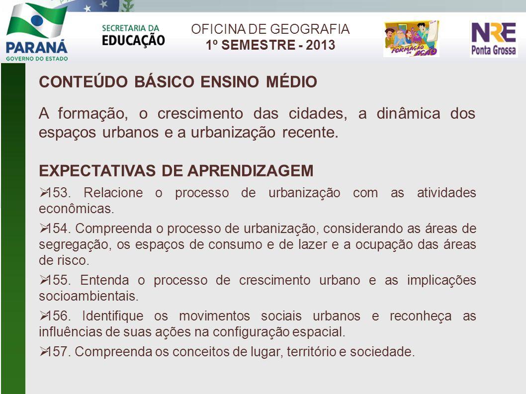 OFICINA DE GEOGRAFIA 1º SEMESTRE - 2013 CONTEÚDO BÁSICO ENSINO MÉDIO A formação, o crescimento das cidades, a dinâmica dos espaços urbanos e a urbaniz