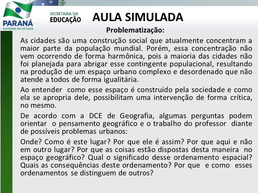 AULA SIMULADA Problematização: As cidades são uma construção social que atualmente concentram a maior parte da população mundial. Porém, essa concentr