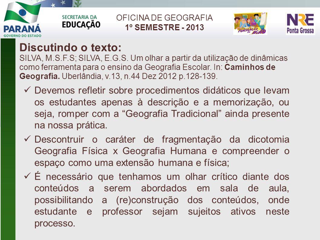 Discutindo o texto: SILVA, M.S.F.S; SILVA, E.G.S. Um olhar a partir da utilização de dinâmicas como ferramenta para o ensino da Geografia Escolar. In:
