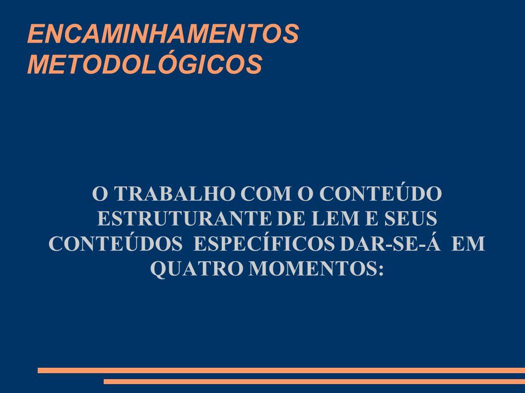 ENCAMINHAMENTOS METODOLÓGICOS O TRABALHO COM O CONTEÚDO ESTRUTURANTE DE LEM E SEUS CONTEÚDOS ESPECÍFICOS DAR-SE-Á EM QUATRO MOMENTOS: