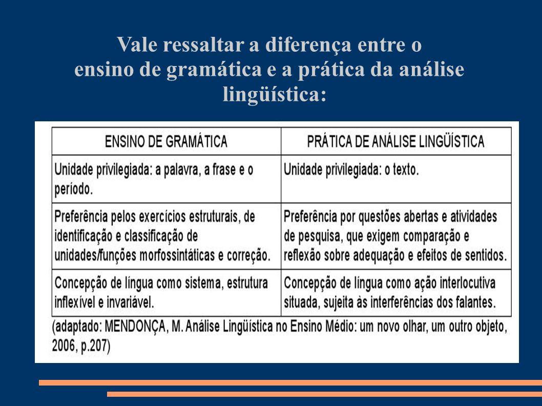 Vale ressaltar a diferença entre o ensino de gramática e a prática da análise lingüística: