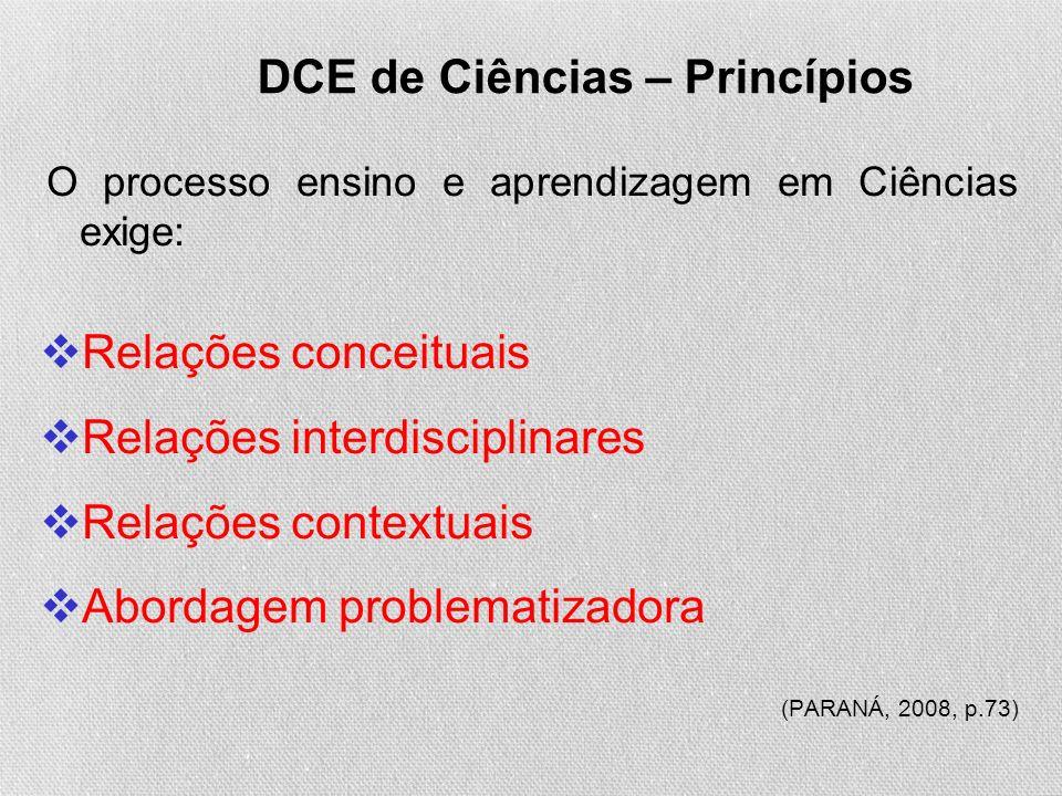 DCE de Ciências – Princípios O processo ensino e aprendizagem em Ciências exige: Relações conceituais Relações interdisciplinares Relações contextuais Abordagem problematizadora (PARANÁ, 2008, p.73)
