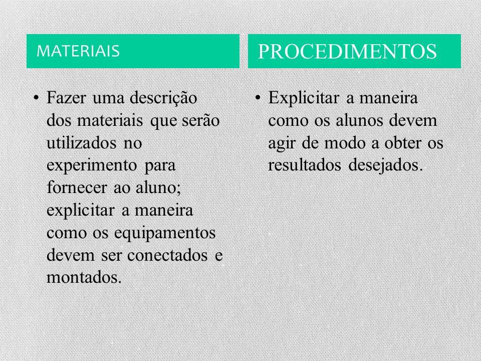MATERIAIS PROCEDIMENTOS Fazer uma descrição dos materiais que serão utilizados no experimento para fornecer ao aluno; explicitar a maneira como os equipamentos devem ser conectados e montados.