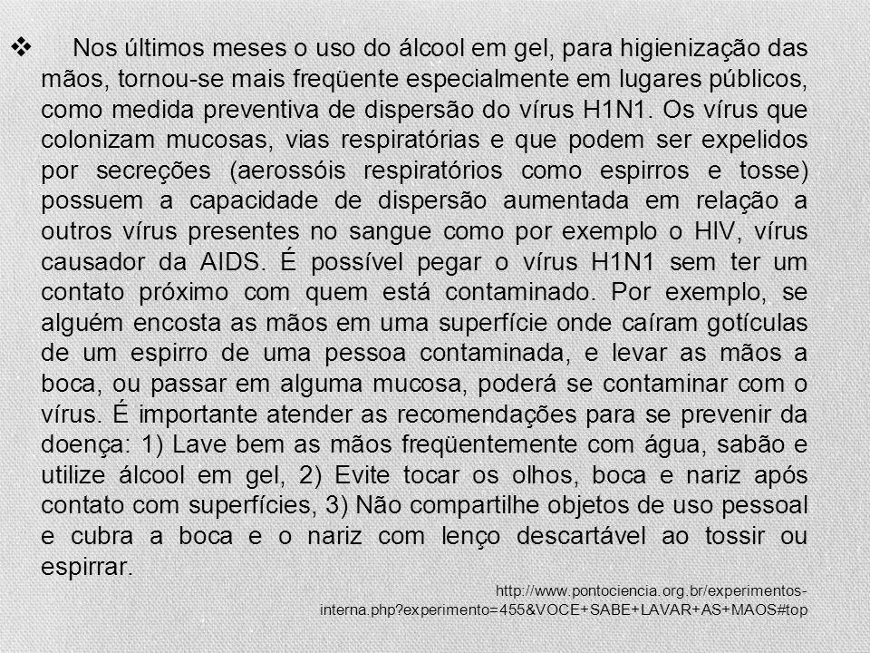 Nos últimos meses o uso do álcool em gel, para higienização das mãos, tornou-se mais freqüente especialmente em lugares públicos, como medida preventiva de dispersão do vírus H1N1.