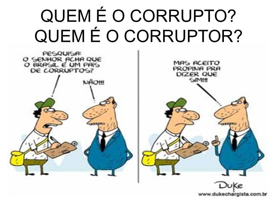 As MUITAS faces da corrupção: No Poder Público (forma geral) No trabalho No social Em casa Na escola Nas eleições