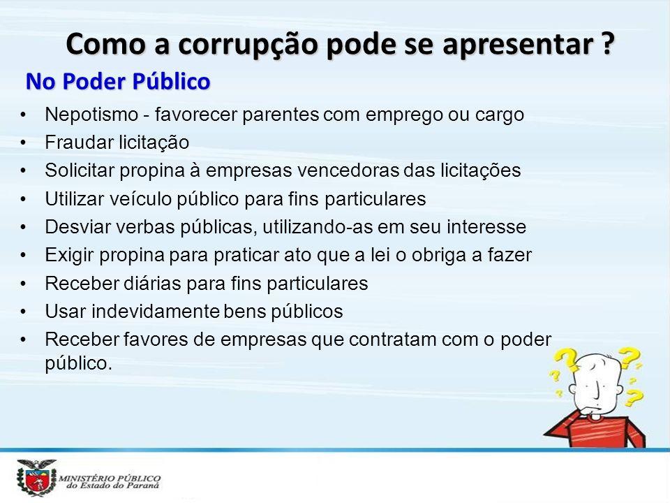 Como a corrupção pode se apresentar .
