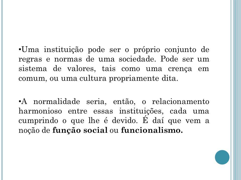 Uma instituição pode ser o próprio conjunto de regras e normas de uma sociedade. Pode ser um sistema de valores, tais como uma crença em comum, ou uma