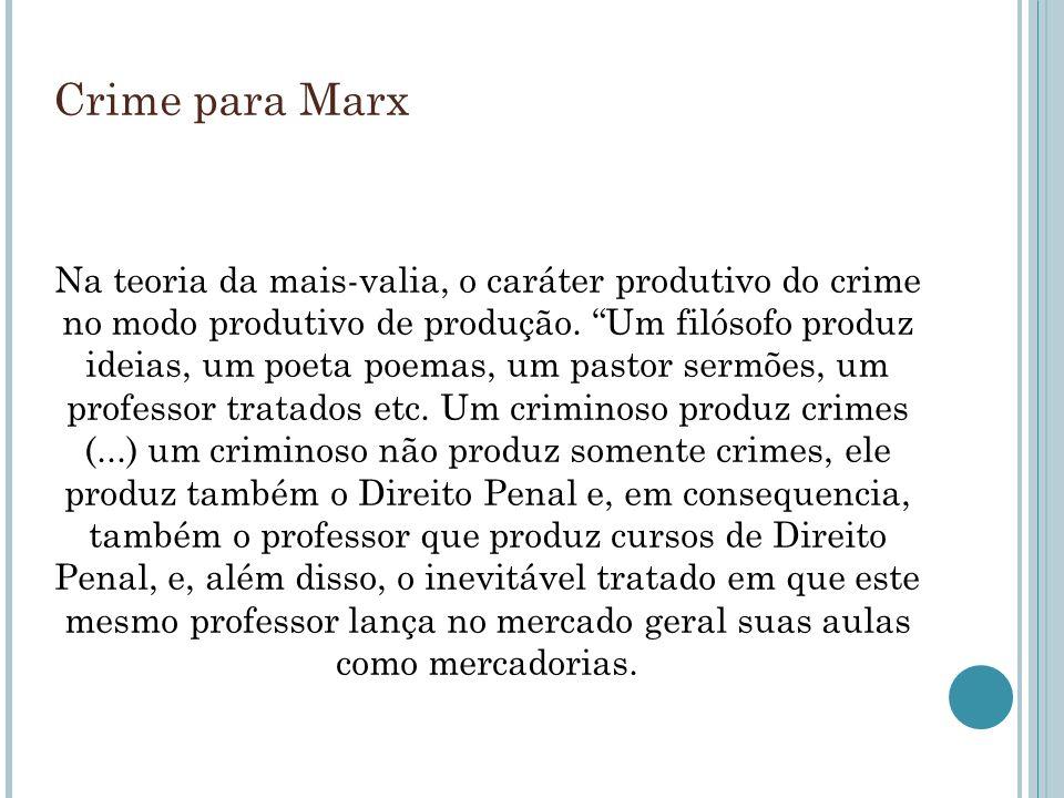 Crime para Marx Na teoria da mais-valia, o caráter produtivo do crime no modo produtivo de produção. Um filósofo produz ideias, um poeta poemas, um pa