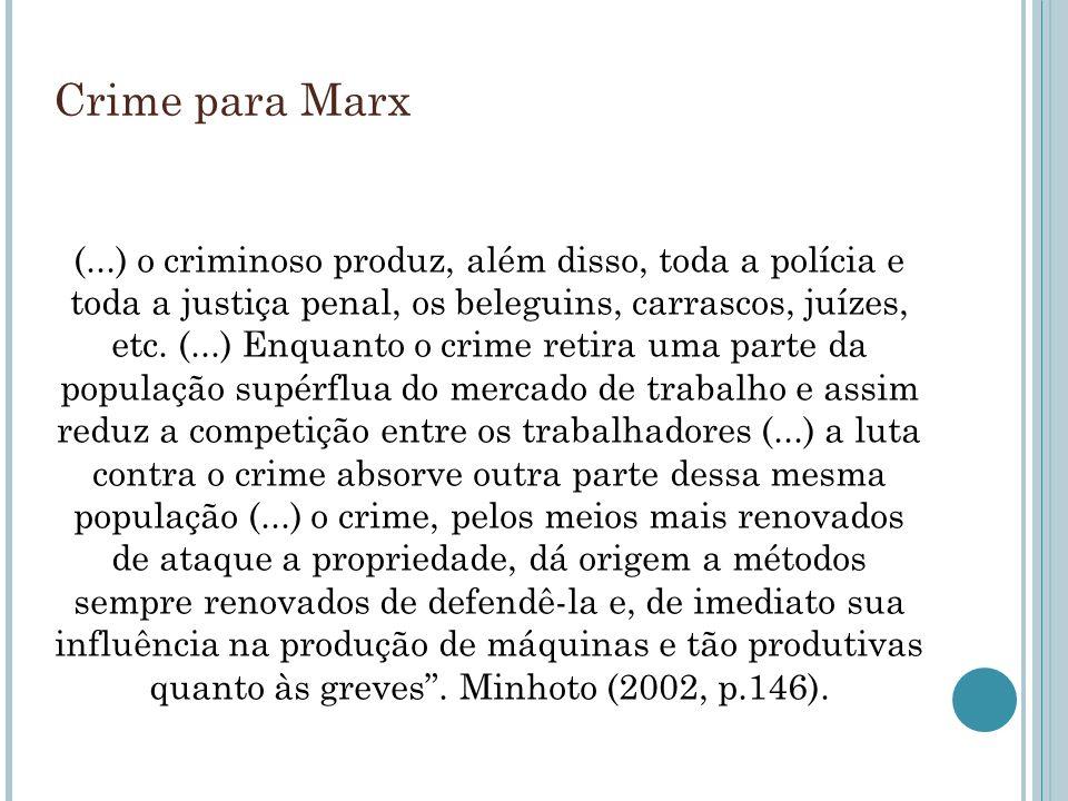 Crime para Marx (...) o criminoso produz, além disso, toda a polícia e toda a justiça penal, os beleguins, carrascos, juízes, etc. (...) Enquanto o cr
